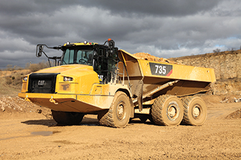 The Cat 735 articulated truck ... innovative new controls.