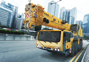 The Demag AC 100-4L ... 100-tonne capacity.