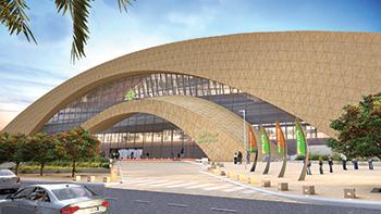 Riyadh Metro's Western Station ... Omrania used a trapezoidal zigzag pattern.