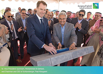 Paal Kibsgaard, chairman and CEO of Schlumberger, and Aramco's Mohammed Al Qahtani at the ground-breaking ceremony for Spark