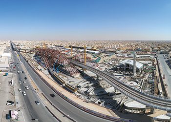 Work under way on the Western Station, one of the iconic stations of the Riyadh Metro.