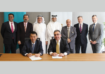 Officials of Bahrain Marina Development Company and Shangri-La Hotels and Resorts at the signing ceremony.