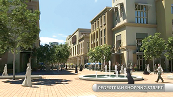 A pedestrianised shopping street in Jubail Two.