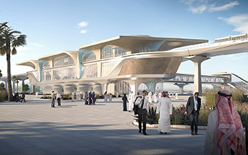 Concept of a Doha Metro station ... the capacity of the stations range from 30,000 to 100,000 passengers per hour.