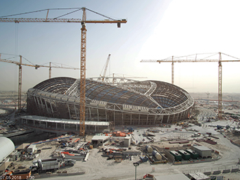 Al Wakrah Stadium ... steel roof has been installed.