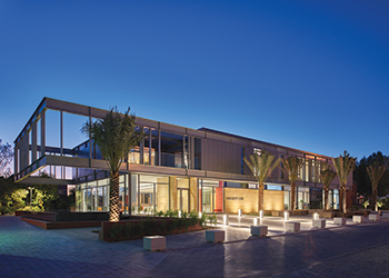 The new entrance of the Dubai College ... the design intention was to have light shine from within.