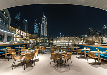 The terrace ... cosmopolitan elegance and stunning views of The Dubai Fountain.