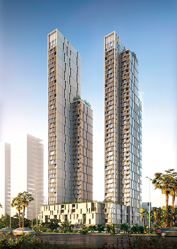 The Hessah Towers in the Hessah Al Mubarak District ... 40 floors of duplexes, townhouses and apartments.