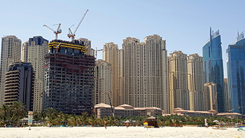 1/JBR project ... core walls cast up the 14th floor.