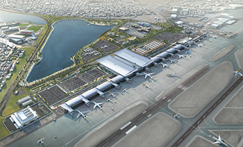 A rendition of the expanded Bahrain International Airport ... work stands at 60 per cent complete.