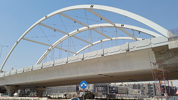 A bridge truss at Al Imam Road and Takhasusi Road Intersection for Riyadh Metro ... fabricated by ASF.