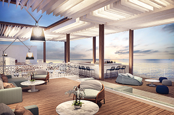 The bar lounge extends onto the water and its wooden columns and ceilings resemble a boat's mast and sails against the ocean breeze.