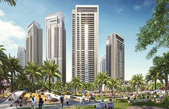 A rendition of Creek Horizon in Dubai Creek Harbour Development.