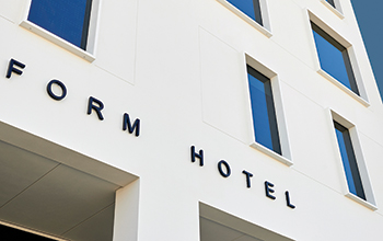 The Form Hotel Dubai ... white facades contrast with the coloured and timeless interior spaces.
