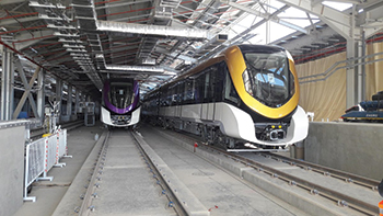 The initial dynamic tests were carried out at the Line 4 depot test track in Riyadh.