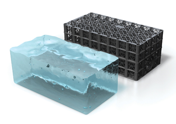 The Polystorm modular cell system ... 95 per cent void ratio to retain large volumes of water run-off.