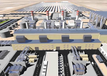 A concept of the power plant at Waad Al Shamal mining city.