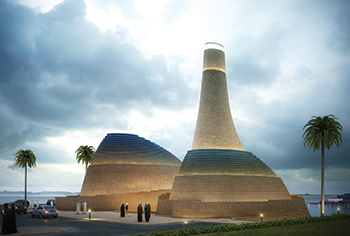 The leaning dome, inspired by the shifting sand dunes of the desert, defines the mosque as an urban lantern at night.