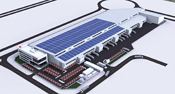 Artist's impression of the rooftop solar PV power plant for DB Schenker.