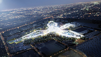 An aerial view of the Expo 2020 Dubai site.