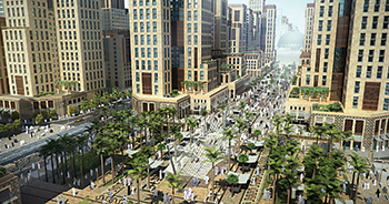 King Abdul Aziz Road ... the scope of works included 9.5 km of roads and a 60-m-wide pedestrian boulevard.