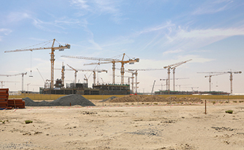 The Expo Village site ... NFT has installed 11 tower cranes.
