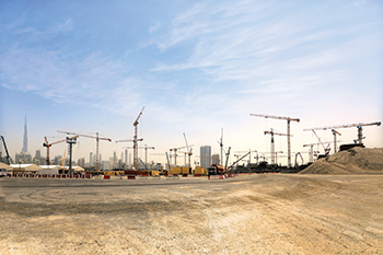 Some 30 tower cranes from NFT are working on a mega mall project adjacent to the Expo 2020 site.