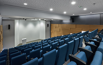 The new energy-efficient building features a 140-seat lecture hall.