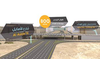 A concept of the bridge on Jebel Ali-Lehbab and Al Asayel roads intersection.