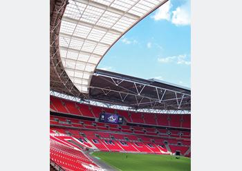 The rooflight at Wembley stadium in London ... supplied by Brett Martin.