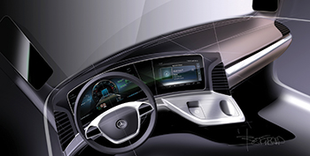The Actros's interior has been resolutely designed around the driver's needs.