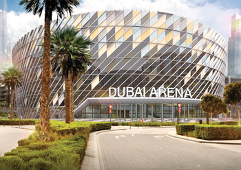 The active-lit façade of Dubai Arena ... work well on track.