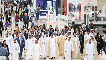 Sheikh Hamdan and UAE officials tour the show on the opening day.