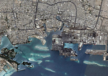 An overview of Jeddah ... the city has spread 40 km northwards, hugging the coastline.