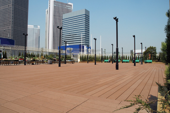 Composite products from Einwood WPCC-Japan for external decking.