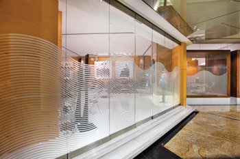 Dorma's HSW glass sliding wall frontage at the Kempinski Hotel in Dubai.