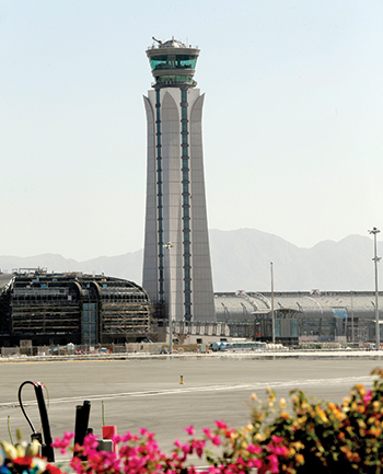 The ATC tower at the Muscat International Airport... fully operational.