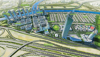 A bird's eye perspective of the Sobha Hartland project in Dubai.