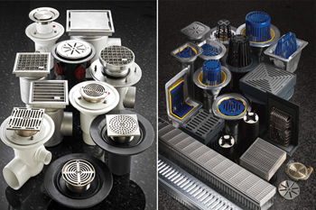 Harmer Drainage's range of floor (left) and roof drains.