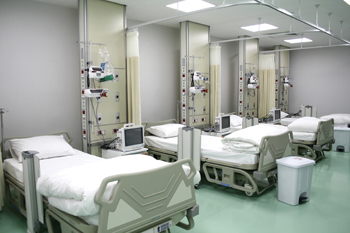 A hospital ward painted with a Hygio system.