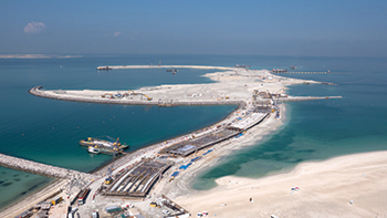 Jumana Islands in Dubai ... shores protected with Alyaf geotextiles.