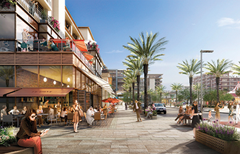 The central square will have more than 350 retail outlets, cafés and restaurants.