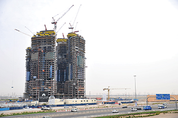 The under construction Damac Towers by Paramount,