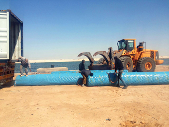 Alyaf geotextiles being laid at the New Suez Canal project in Egypt.