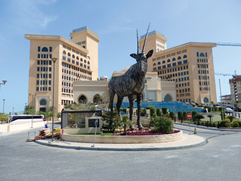 One of the sculptures at the entrance of the hotel.