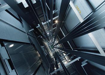 Kone's UltraRope in an elevator shaft.