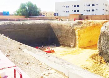 Alyaf geocomposites being laid at a Riyadh Metro project site.