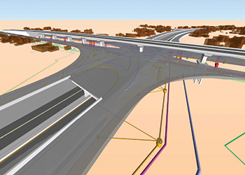 Three-level interchange designed with Navisworks software.