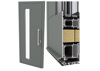 Thsh-Panel-Door-Inward-Opening-with-Spy-Window_3D_full-doore CS 86-HI door system with spy window ... full door and detail (right).