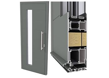 Thsh-Panel-Door-Inward-Opening-with-Spy-Window_3D_full-doore CS 86-HI door system with spy window ... full door and detail (right).